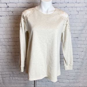 Doe & Rae Lace Shoulder Sweatshirt